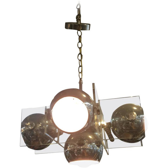 1970's Modernistic Lucite and Chrome Ball Italian Chandelier