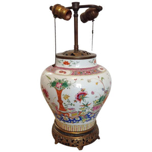 19th Century Famille Rose Porcelain Ginger Jar Lamp