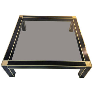 Modernist Brass and Black Laminate Coffee Table by Romeo Rega
