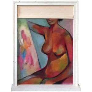 Abstract Nude in Window Sill Frame with Canvas Window Shade Painting