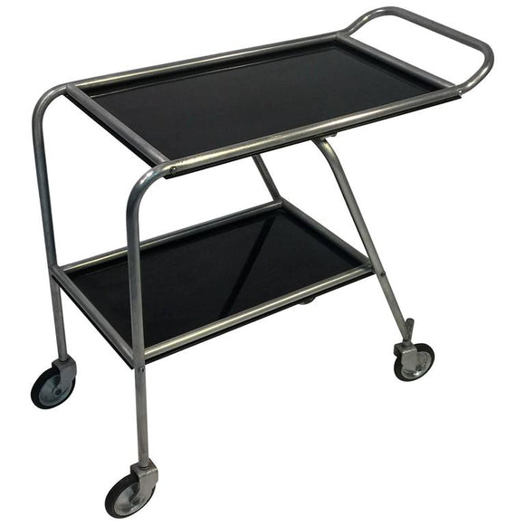 Aerodynamic Art Deco Aluminium and Black Bakelite Aero-Art Bar Cart