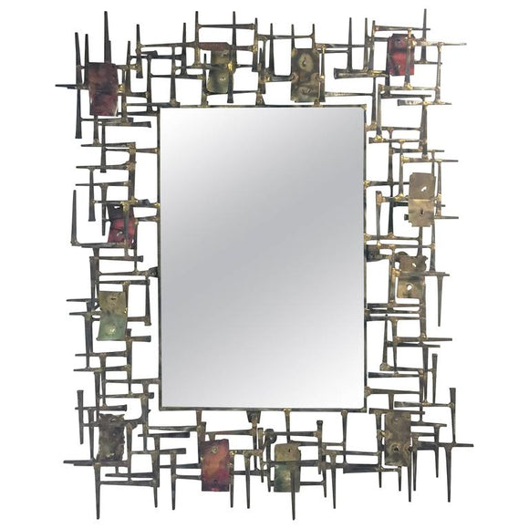 Amazing Brutalist Nail and Metal Mirror in the Manner of Silas Seandel