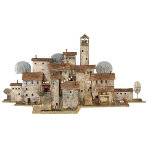 Amazing Colorful Wall- Mounted Mediterranean Village Sculpture by Curtis Jere