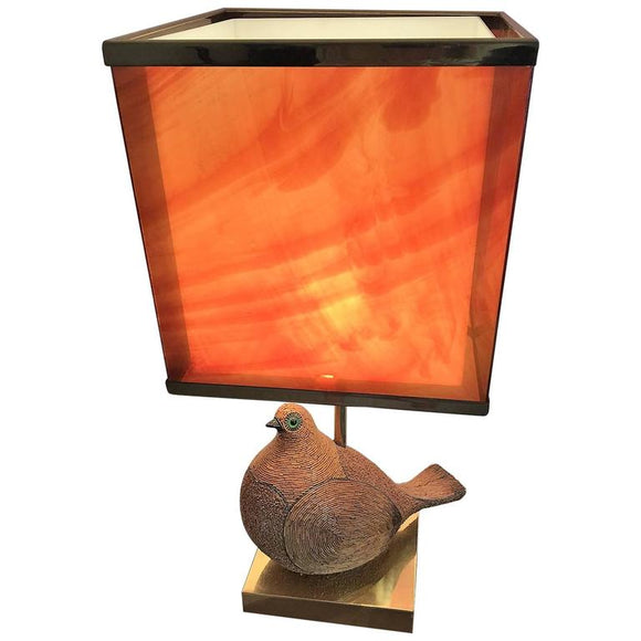 Amazing Italian Modernist Ceramic Partridge with Tortoise Shell Lucite Shade