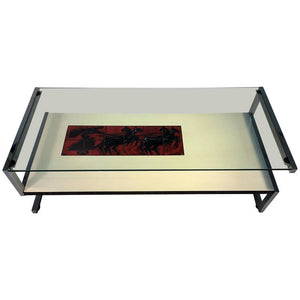Amazing Italian Modernist Tile and Laminate Chrome Frame Coffee Table