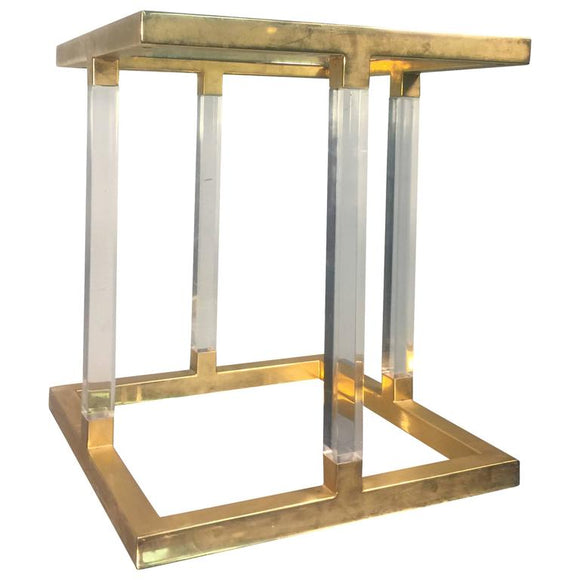 Amazing Lucite and Brass Accent, or Side Table by Charles Hollis Jones