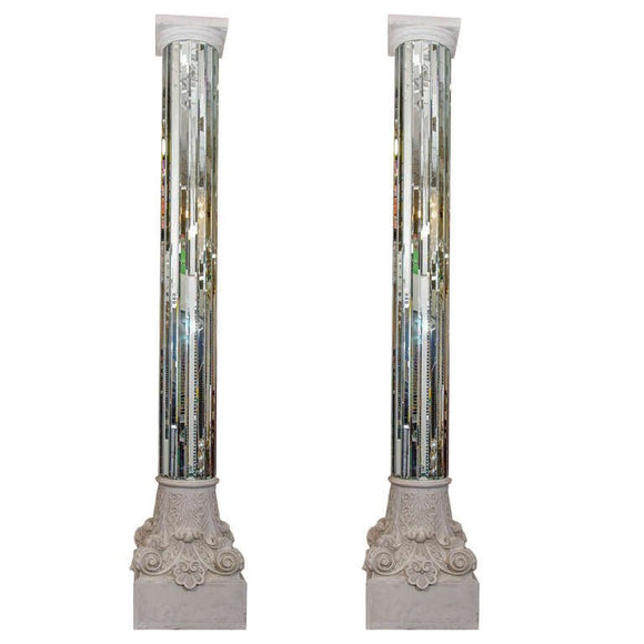 Amazing Modern Monumental Pair Of Mirrored White Columns