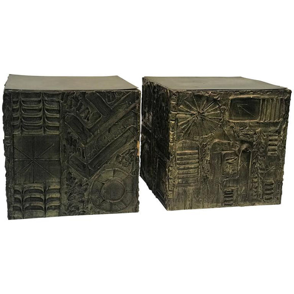 Amazing Pair of Adrian Pearsall Brutalist Cube Shaped End Tables or Side Tables