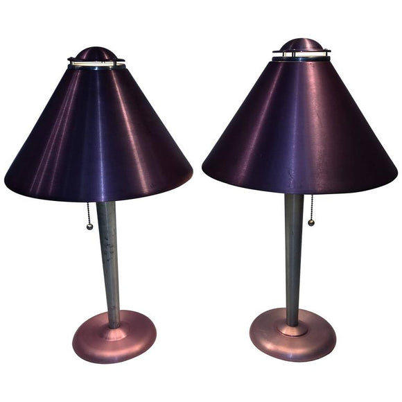 Amazing Pair of Art Moderne Anodized Spun Aluminum Lamps