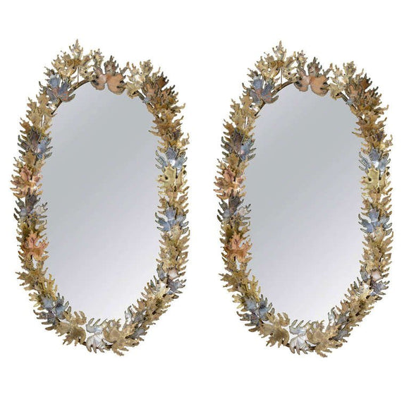 Amazing Pair of Brutalist Signed Curtis Jere Oval- Leaf Wall Mirrors