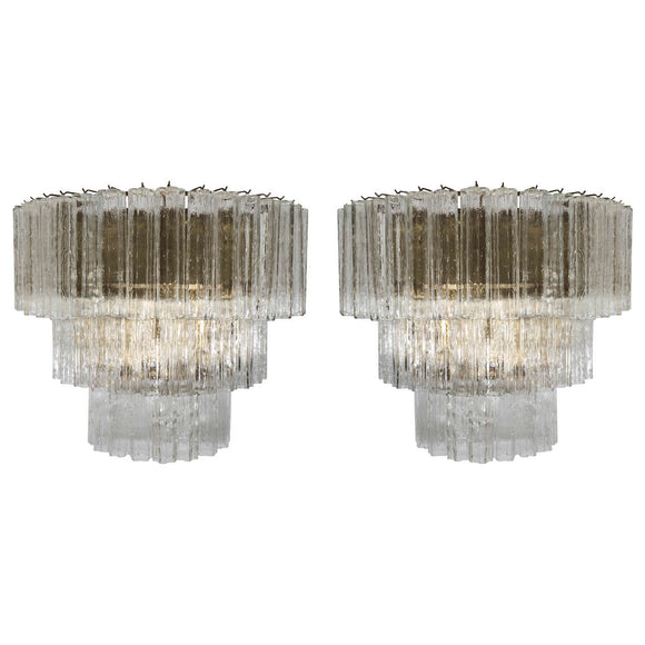 Amazing Pair of Venini Monumental Triple Tier Tronchi Murano Glass Sconces