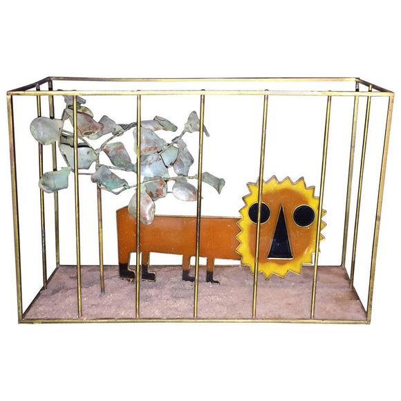Animated Curtis Jere Modernist Pop Orange Resin Lion in Brass Cage Sculpture