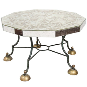 Art Deco Mirrored Co ee Table with Leaf Motif Attributed to Gilbert Poillerat