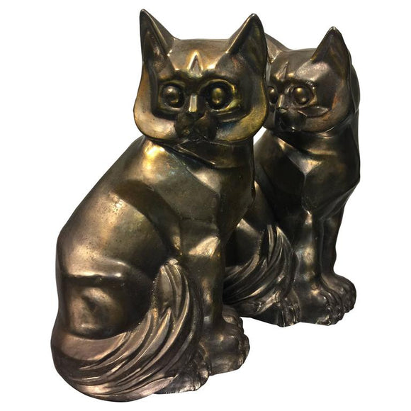 Art Deco Style Pair of Cast Metal Cubist Cat Form Bookends