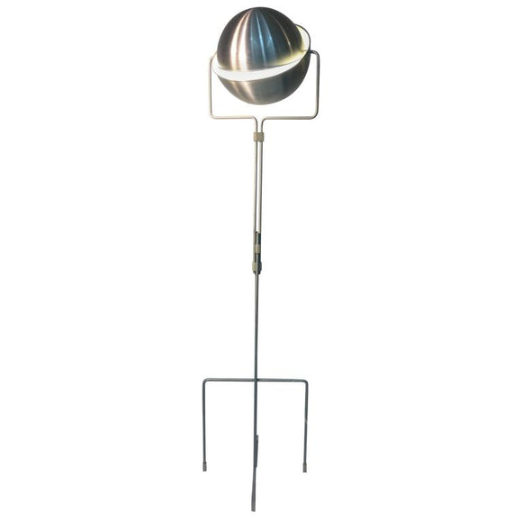 Articulated Italian Globe Floor Lamp in Burnished Aluminum