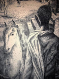 Atmospheric Horse and Village Square Etching by A.R. Luna