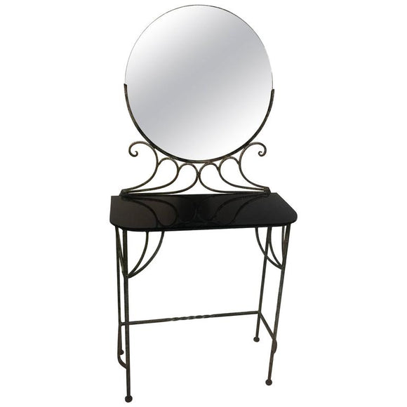 Beautiful Art Deco Wrought Iron Vanity and Chair by Ferro Brandt