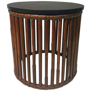 Beautiful Bamboo Drum Table with Granite Top by McGuire