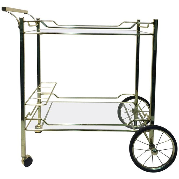 Beautiful Brass Bar or Tea Cart for the Design Institute of America