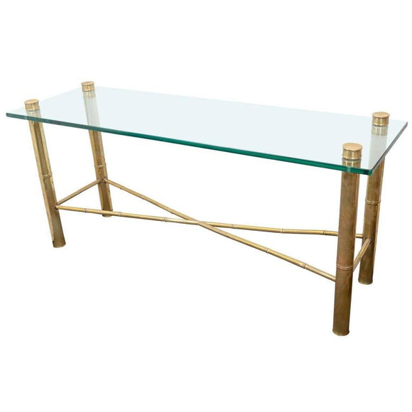 Beautiful Brass Faux Bamboo Console Table, circa 1970