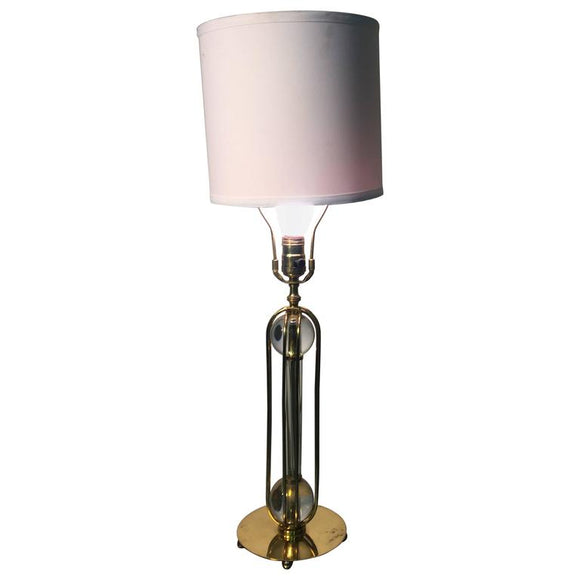Beautiful Brass Table Lamp with Glass Ball and Cage Design
