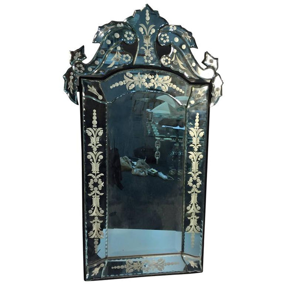 Beautiful Cut-Glass and Etched Venetian Wall Mirror