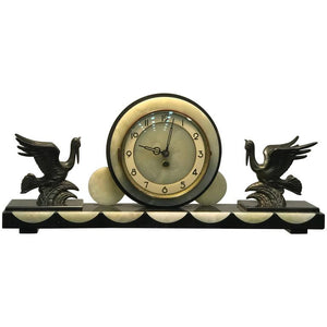 Beautiful French Art Deco Marble and Onyx Mantel Clock with Flying Herons