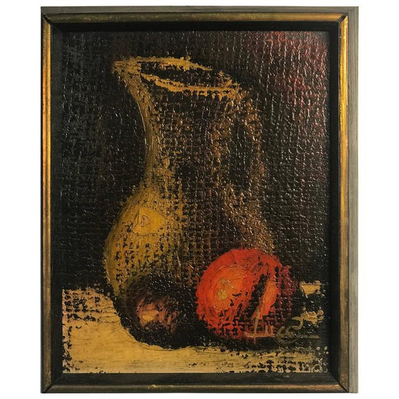 Beautiful Modern Still Life Painting of Pitcher and Fruit