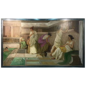 Beautiful Neoclassical Style Painting of a Roman Bath House after Alma-Tadema