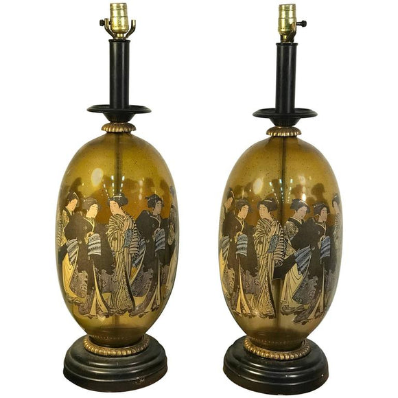 Beautiful Pair of Asian Inspired Table Lamps in the Manner of James Mont