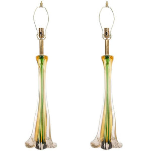 Beautiful Pair of Cenedese Murano Glass Table Lamps