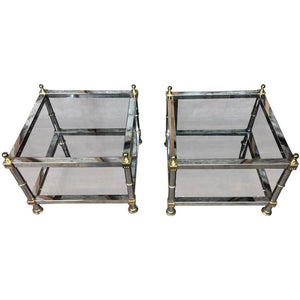 Beautiful Pair of Maison Jansen Style Chrome and Brass Double Tier Side Tables