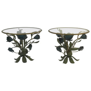 Beautiful Pair of Mixed- Metal Side or Accent Tables with Flower and Leaf Design