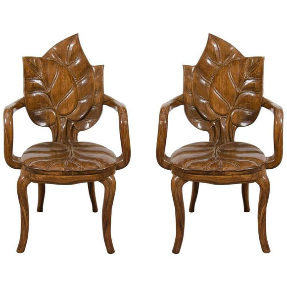 Beautiful Pair of Sculptural Carved Leaf Motif Armchairs or Side Chairs