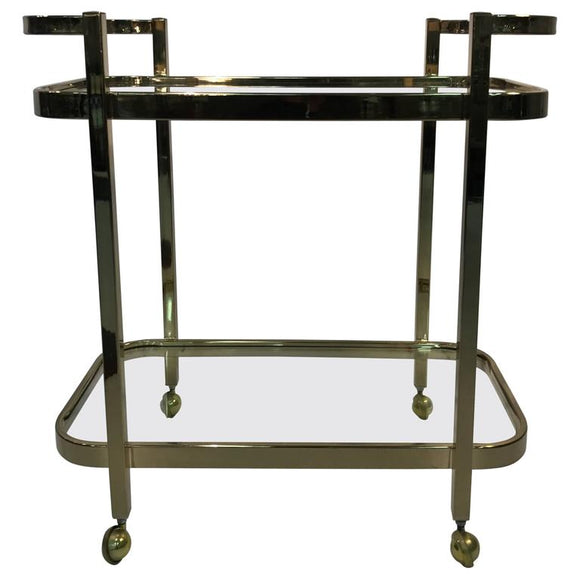 Beautiful Two-Tier Brass Bar Cart by Milo Baughman