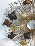 Beautiful and Rare Curtis Jere Sunburst Wall Sculpture with Butterflies