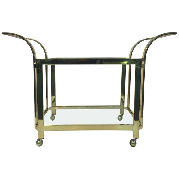 Beautifully Designed Brass Bar or Tea Cart by Milo Baughman