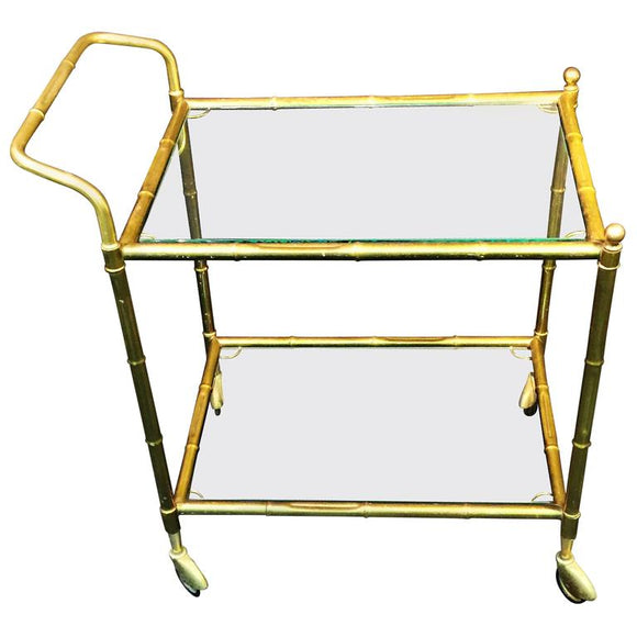 Brass Bamboo Bar Cart in the Manner of Bagues