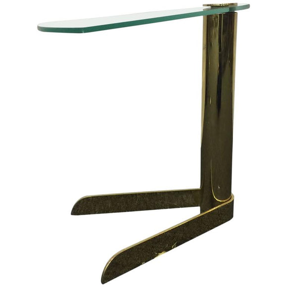 Brass and Glass Side or Drink Table in the Manner of Karl Springer