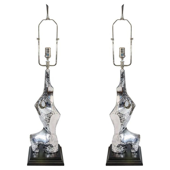 Brutalist Pair of Chrome Table Lamps by Laurel, circa 1970