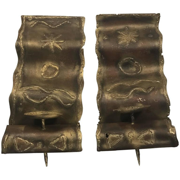 Brutalist Pair of Mixed- Metal Sconces with Engraved Design