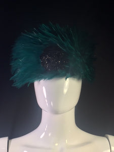 Vintage Emerald Green Feather Hat with Black Glitter Rose by Chanel