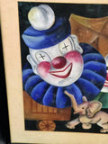 Charming Signed Mid- Century Clowns with Elephant Painting