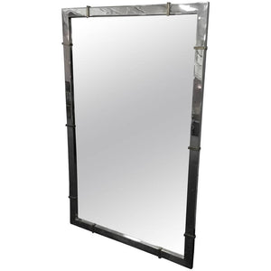 Chrome Wall Mirror with Brass Accents in the Manner of Karl Springer