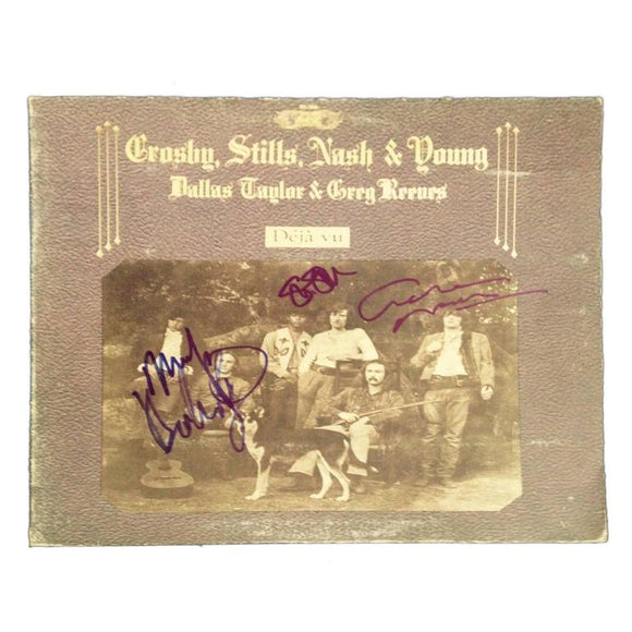 Crosby, Stills Nash and Young and Elton John Autographed Record Albums