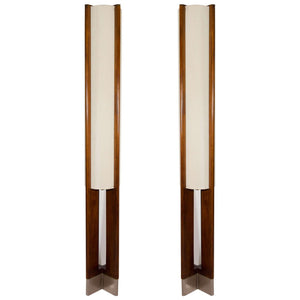Danish Modern Pair of Tall Wooden Floor Lamps