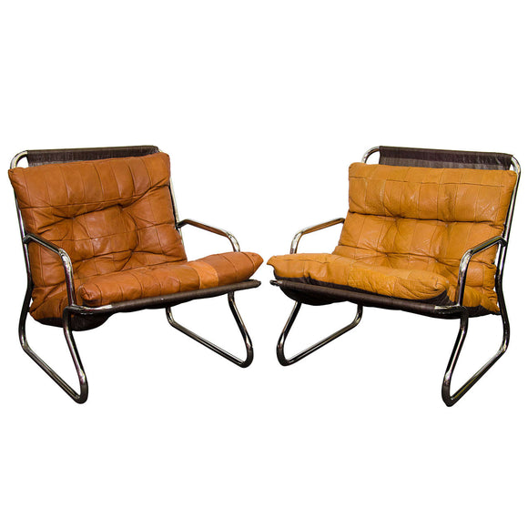 Danish Modern Set of Two Tubular Chrome and Leather Lounge Chairs