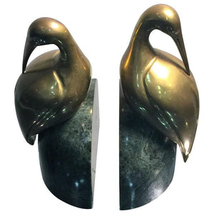 Decorative Pair of Brass Egret on Solid Deep Green Marble Bookends
