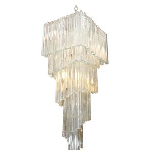 Dramatic Five-Tier Murano Glass Chandelier by Camer