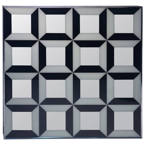 Dramatic Verner Panton Black and White Optical Mirror
